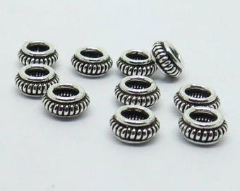 10 Pieces 925 Sterling Silver Spacer Beads  6mm Round