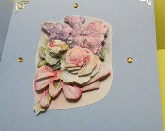 Card 3D (relief) pink and lilac flowers