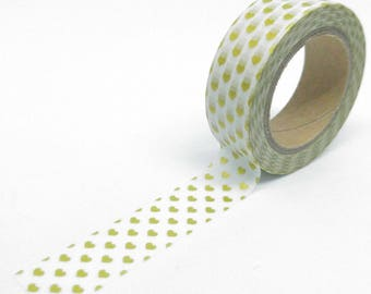 Washi Tape metallic hearts vertical 10Mx15mm gold matte and white