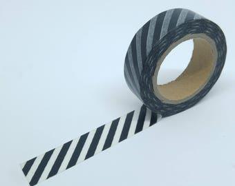 Washi Tape geometric pattern stripes diagonal 10Mx15mm black and white