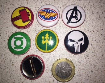 6 Super Hero, pins badges