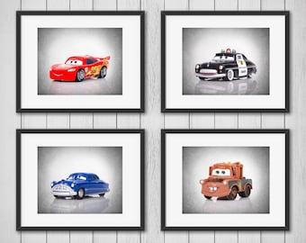 set of 4 cars disney wall prints cars disney lightning mcqueen boys room