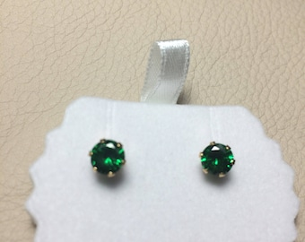 Gold Plated Green Zircon Earrings