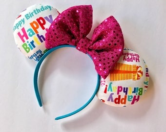 Happy Birthday Ears, Birthday Ears, Minnie ears, Disney ears,Disney Mouse Ears, Minnie Mouse Ears, Birthday Fabric Ears, Sequin Bow Ears