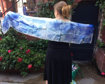 Cyanotyped silk shawl