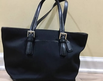 Coach Black Tote Bag  ~ Leather and Nylon