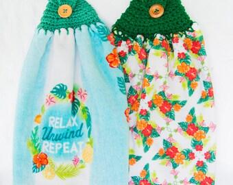 Relax Unwind Repeat Kitchen Towels - Crochet Top