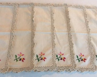 Vintage Cross-Stitched Napkins Set of 6 Crocheted Edge