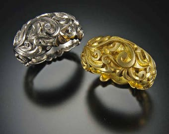 Large Domed Floral Swirl Ring