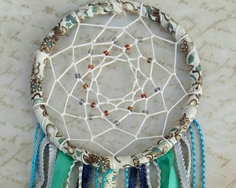Beaded Dreamcatcher in blue/green tones
