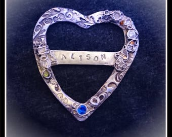 Silver Heart CZ Scarf Tie/Slide - Silver Precious Metal Clay (PMC), Handmade, Scarf Tie, Slide - (Product Code: ACM104-17)