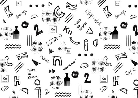 Kitsch Shapes and Sketches Wrapping Paper