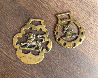 Brass Saddle Medallions, Brass Equestrian Medal, Harness , Brass Lion, Brass Windmill, Steampunk equine