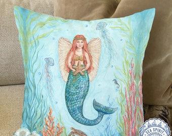 Coastal Christmas decor | Mermaid pillow cover | Mermaid art | Beach Christmas pillow cover | Christmas mermaid