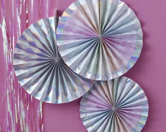 Iridescent Rainbow Hanging Paper Fan Decorations, Iridescent Decor, Rainbow Birthday Party Decor, Wedding Paper Fans