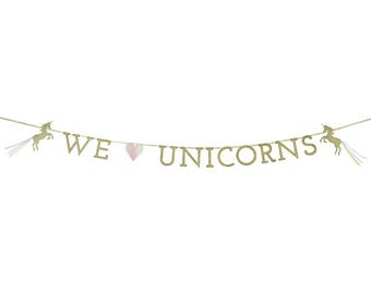 We Heart Unicorns Bunting, Unicorn Party Banner, Unicorn Themed Party Garland, Birthday Party Banner, Party Bunting,
