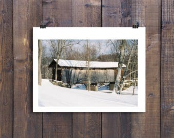 Bittenbenders Covered Bridge in Shickshinny, Pennsylvania (Winter) Fine Art Photograph
