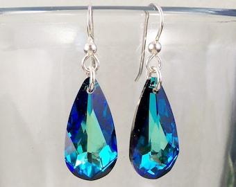Swarovski Bermuda Blue Crystal Teardrop Earrings, Swarovski Earrings, Blue Crystal Jewelry, Handmade, Green Crystal, Ocean Blue Teardrop