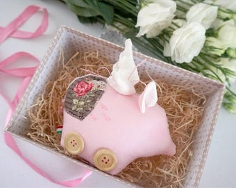 Flying pig decor gifts Pig nursery Tilda sweetheart doll farmhouse table decor farm animals Stuffed animal Piglet doll