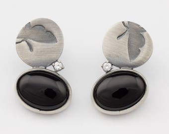 Onyx Silver earrings Butterfly