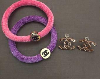 Chanel Bundle SET Hair Tie CC Earrings