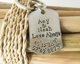 Anniversary Key Chain,  Personalized Men's Gift, Gift for Husband, Gift for Dad from Son, Gift for Dad from Daughter