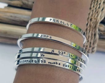 Coordinates Bracelet, One Sterling Silver Cuff Bracelet, Personalized, Stacking Bracelet, Thin Cuff, Gift for Wife, Gift for Daughter