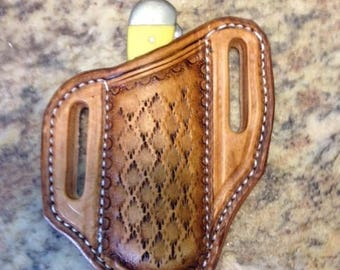 Copper Head tooled pancake sheath for Trapper / Stockman knives