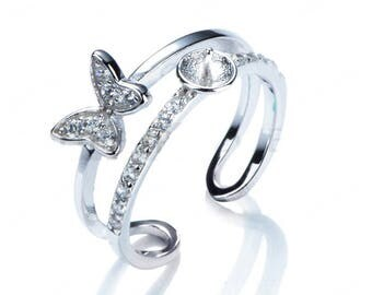 Cubic Zirconia Butterfly Sterling 925 Silver Ring Base CD9RM95