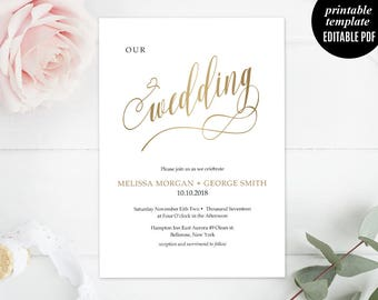 Faux Gold Elegant Wedding Invitation Set Template - Printable Wedding Invitation - Modern Calligraphy Classic Wedding Invitation Download