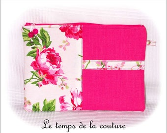 Handmade pouch right - zipper pouch - pink, white and green tones.