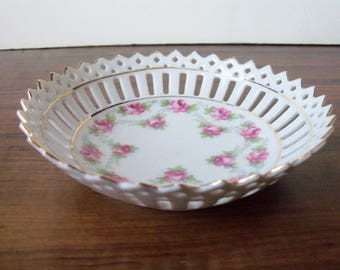 "Vintage Porcelain pierced small 4-7/8"" bowl. Germany (#EV251)"