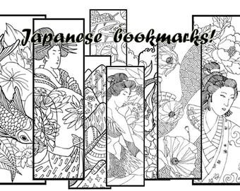 Coloring bookmarks,printable bookmarks,Japanese bookmarks,8 Bookmarks,Geisha bookmarks,oriental bookmark,Printable