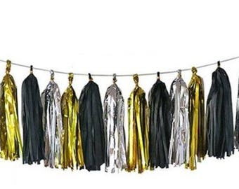 Black Silver Gold Tassel Garland, New Years Tissue Tassel Garland, New Years Party Decor, Black Silver Gold Banner, Black Tie Affair Wedding