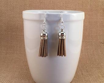 Neutral Colors, Tassel Earrings, Earth Tones, Brown Tassels, Brown Accessories, Bohemian Jewelry, Suede Tassels, Simple Jewelry, Gift Idea