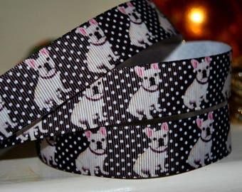 "French Bulldog  Grosgrain Ribbon 1"" wide,  craft , uk ribbon, trim, sewing supplies"