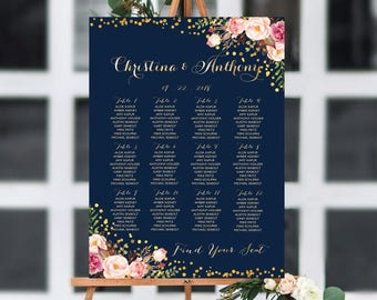 Wedding Seating Chart, Poster wedding, Seating Chart, Wedding Table seating, Navy seating chart, seating chart alphabet, Find Your Seat, 154