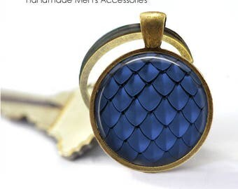 DRAGON SCALES Key Ring • Blue Dragon Scales • Mermaid Scales • Fish Scales • Gift Under 20 • Made in Australia (K223)