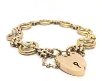 Antique Pearl Bracelet   Edwardian 9ct Bracelet   Yellow Rose Gold   Seed Pearls   Padlock Brick Gate Bracelet   Quatrefoil Flower Daisy