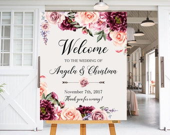 Wedding Welcome Sign Marsala Burgundy Peonies Floral Boho Digital Wedding Reception Sign Bridal Wedding Welcome Poster WS-030