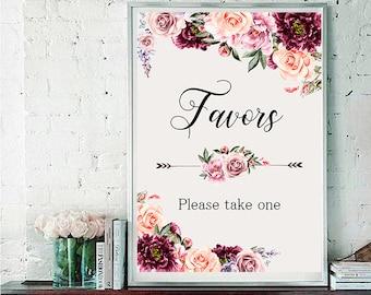 Favors Wedding Sign Digital Floral Marsala Burgundy Pink Vintage Wedding Boho Printable Bridal Decor Gifts Poster Sign 5x7 and 8x10 - WS-030