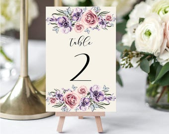 Wedding Table Numbers,Printable Table Numbers,Purple Lilac Pink Table Numbers,Table Numbers Wedding,1-20,4x6,PDF Instant Download TN-033