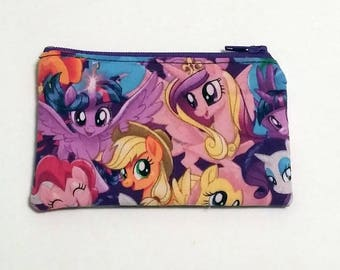 My Little Pony Coin Purse - Zipper Coin Pouch - Cute Coin Purse - Change Wallet - Zipper Bag - Card Wallet- Gift Idea- Birth control case -