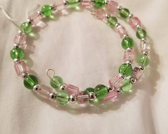 Pink, Green, & Silver Wrap Bracelet, Glass beads, Nickel-free Memory Wire. BR10