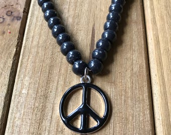 Black Beaded Peace Sign Necklace