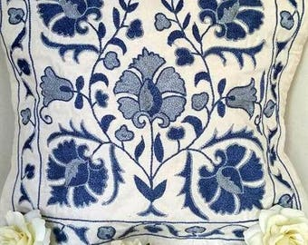 A Precisely Embroidered Handmade Suzani Pillowcase from Uzbekistan. Must Have One!