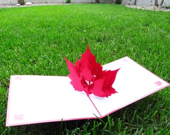Maple Leaf Canada Day 3D Pop Up Card, Canada Day card, Canada Day 3D card, Canada Day greeting card, Canada Day celebration gift, Canada 150