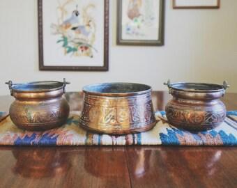 Vintage Engraved Copper Pots Copper Plant Pot Boho Decor Succulent Planter  Centerpieces Copper Home Decor Indoor