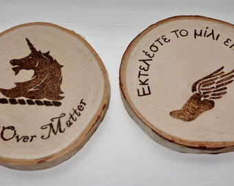 Running inspired wood coasters / set of 2
