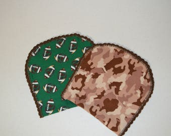 Green and Brown Camo Football Burp Rag Set
